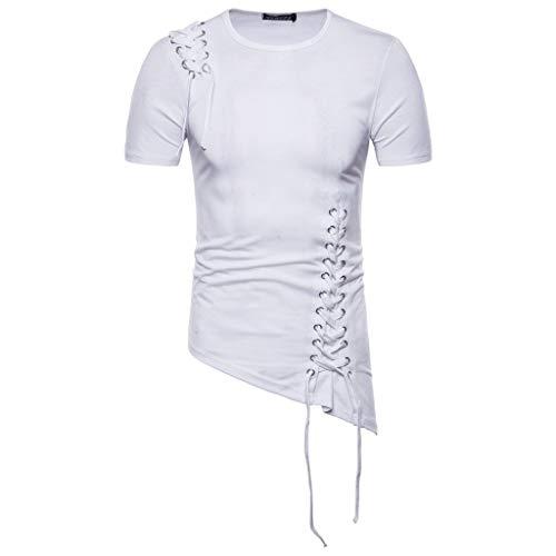 CICIYONER Herren Tshirts Sommer Neues Retro Show Party kostüm Kurzarm-T-Shirt mit unregelmäßiger ()