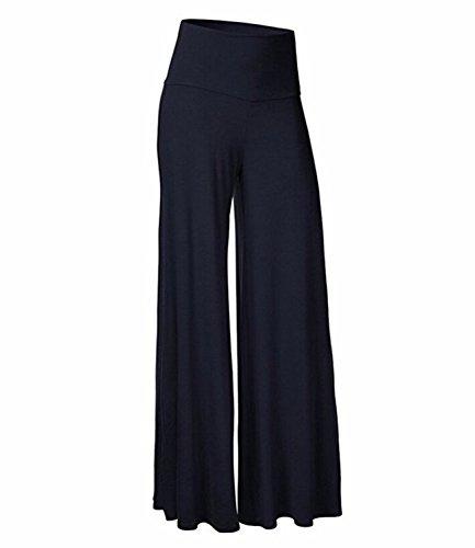 FITTOO Damen Lose Lange Stretch Weites Bein Hose Leicht Weich-Gefühl Sommer Hosenrock Blau L