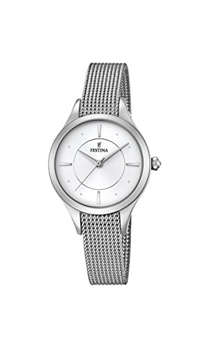 Festina MADEMOISELLE Women's Quartz Watch with Silver Dial Analogue Display and Silver Stainless Steel Bracelet F16958/1