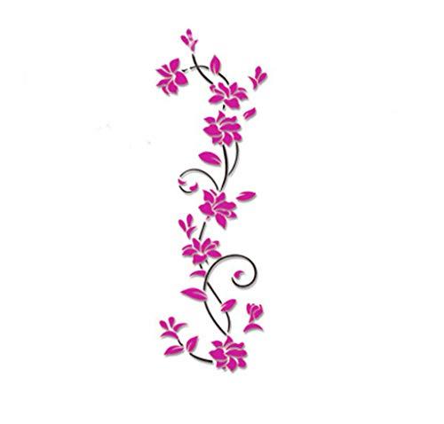 UJUNAOR Wandtattoo mit Schmetterlingen | Wandbild: 24 * 80cm | Wandsticker Blumen Wandaufkleber Blume | Deko für Wohnzimmer Schlafzimmer Küche Flur(Pink,One size)