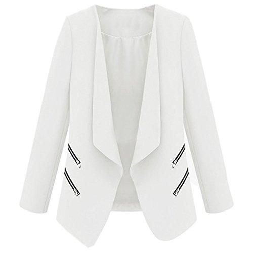 hibote distinctif personnalité Zipper Pocket Solid Color Slim Petite Veste Manteau Fashion Lady Blanc