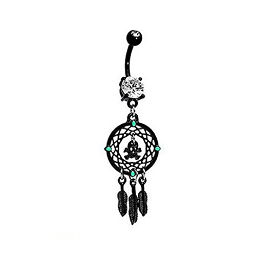 Bling Sterne 316L Chirurgenstahl Totenkopf Dream Catcher Vintage Floral Navel Ring - Button Belly Dream Catcher