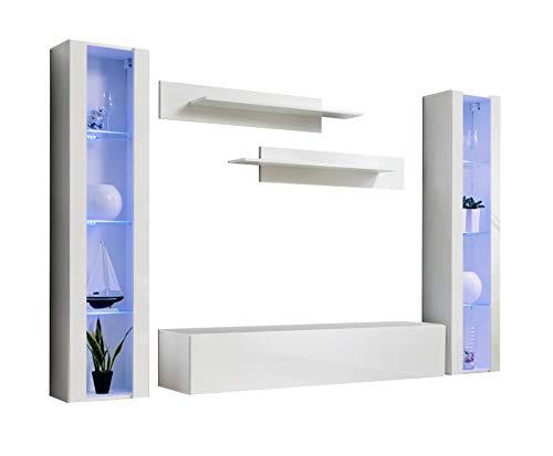 muebles bonitos Wohnzimmer Wohnwand Set Modell Berit B2 weiß mit LED