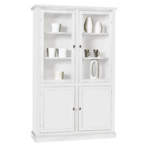 CLASSICO vetrina Shabby Chic bianca mobile sala credenza alta con cassetti 120x41x187 1390