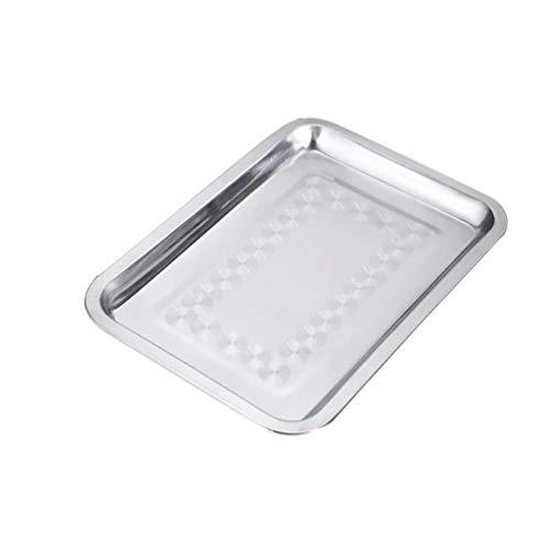 Yardwe Bandeja de bandeja de horno de tostador de acero inoxidable 1 pieza bandeja de servir de comida...