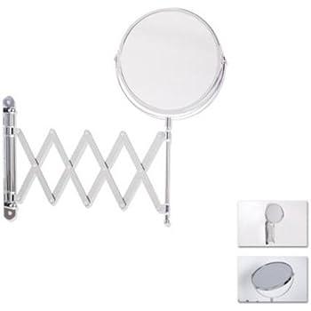 Miroir maquillage salle de bain grossissant a fixer - Téléscopique - diametre 16cm - Inox