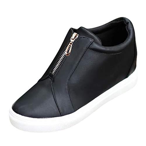 Sneakers Donna Sportive Scarpe Zeppa Donne Stivali con Cerniera Davanti Stivaletti Camuffare Ankle Flat Ladies Shoes
