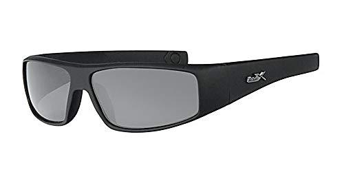 Polarisierte, gebogene Sonnenbrille + gelbe Halskordel + Etui, schwarzer Rahmen, schwarzes Glas