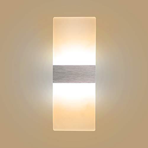 Lampada da parete led 6w lampada design moderno up down applique da parete interno lampada a muro per decorazione in acrilico alluminio luce notturna bianco caldo
