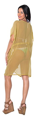 La Leela Damen leichte Chiffon - 70 Solide Farben vorhanden Bademode Abend lässig Kleid Badeanzug Kimono Kaftan Strandkleid Bikini Tunika Badebekleidung Strand Poncho Überwurf Kaftan Cover up Khaki
