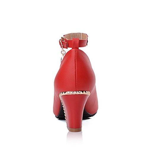 BalaMasa da donna, punta tonda, pompe Imitated-Scarpe in pelle Rosso (rosso)