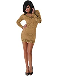 Kleid Minikleid Sommer Party Abendmode neu Spitze Größe 36 38 40 rustikal braun