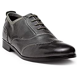 HATS OFF ACCESSORIES Grey Crunch Leather Brogue Shoes
