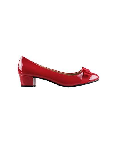Bogen Detail Ballerinas (Niedrige Ballerina Pumps mit Scheife Klassische Lackleder Schuhe;Rot (4241);37;4241-RED-4)