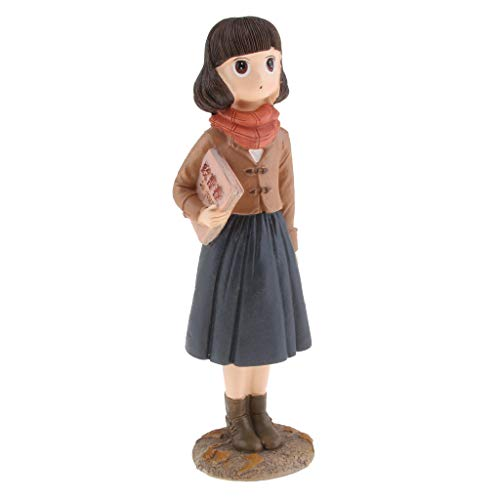 non-brand Sharplace Figurine Garçon Fille Animaux Sculptures Statues de Jardin Résine Artisanat Créative - Fille Debout