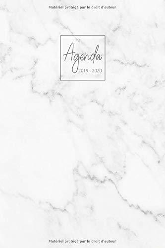 Agenda 2019-2020: Agenda Scolaire de Juillet 2019 à Juillet 2020, Semainier simple & graphique, série Marbre, motif marbre blanc par YesOuiPages