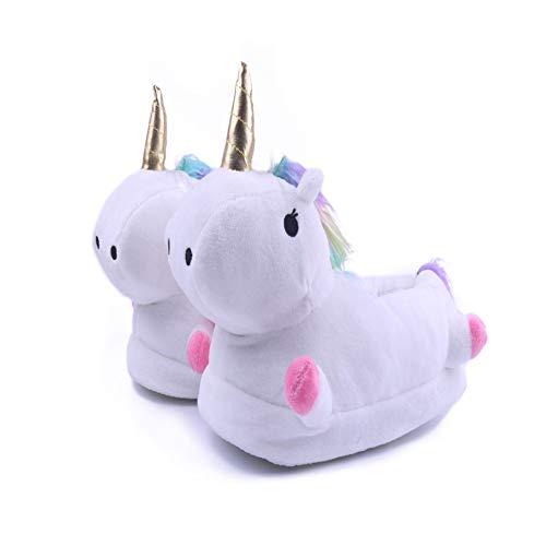 Licy Life-UK Unisex - Kinder Damen Jungen Mädchen LED Plüsch Pantoffeln Cartoon Kostüm Unicorn Hausschuhe Tierhausschuhe