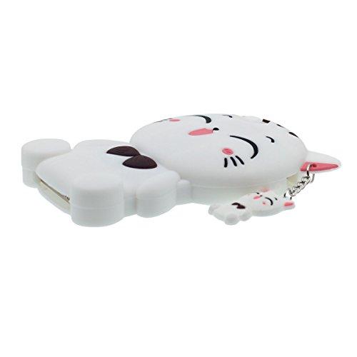 Coque iPhone 5 5S 5C, étui per Apple iPhone SE Noir, Très mignon 3D Kitty Chat Apparence Unique et Creative Pendentif Désign Souple Silicone Gel Perfect Fit Blanc