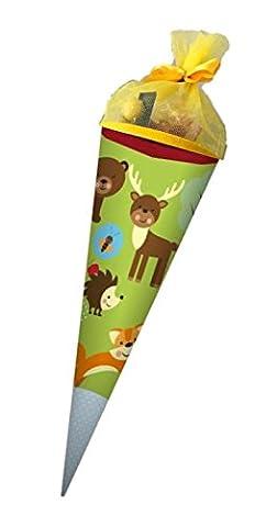 Waldfreunde zuckersüß gefüllte Schultüte 40cm im kunterbunten Waldfreunde Design - ideal als Geschwister-Schultüte für Schulanfang & Einschulung