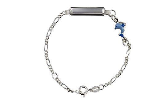 AKA Bijoux - Bracelet d'Identification Enfants Argent 925 avec Dauphin Émaillé Bleu, Cadeau Fantaisie Garçon