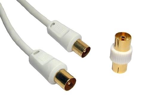 Cable Antenne Tv Male Femelle - 1.8m Câble coaxial - Plaqué Or 24k