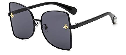 ZIYIZNL Sonnenbrillen Sonnenbrille Dame Persönlichkeit Metall Katzenaugen Biene Sonnenbrille Männliche Sonnenbrille, B