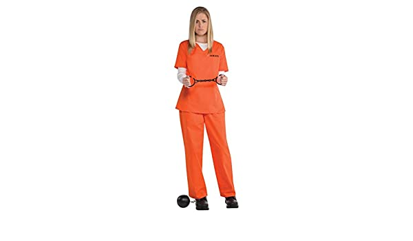 5ed01c3bc07a Ladies Orange Inmate Uniform Convict Prisoner New Black Fancy Dress Costume  Girl Criminal Overall Top Trouser Halloween TV Show Character  Amscan ...