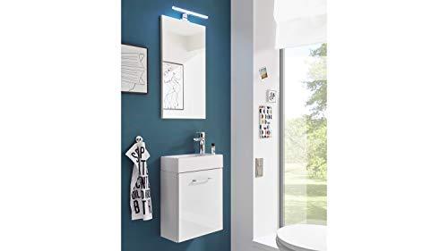 BEGA Waschplatz Guest Light Weiß Badmöbel-Set mit Waschbecken für Gäste WC -