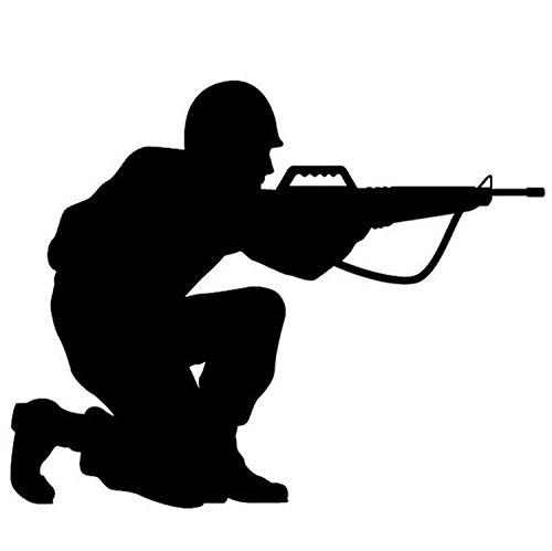 FUWUX Waffe Auto Aufkleber Auto Feld Militär Enthusiasten M-16 Pistolen reflektierende Aufkleber Feuerwaffen E Familie (Color : Black) (Militär-auto-magneten)