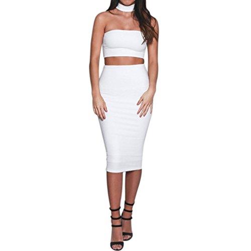 Honghu Damen Schlank Bustier Maxi Wickelkleid Röcke Weiß
