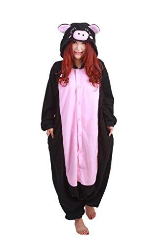 Fandecie Tier Kostüm Tierkostüm Tier Schlafanzug Hund Pyjamas Jumpsuit Kigurumi Schwein Damen Herren Erwachsene Cosplay Tier Fasching Karneval Halloween (Schwarz Schwein, M:Höhe ()