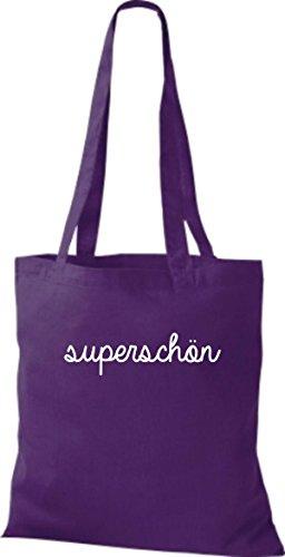 ShirtInStyle Stoffbeutel, Baumwolltasche, Shopper lustiger Typo Spruch superschön lila