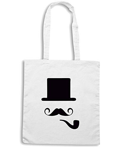 T-Shirtshock - Borsa Shopping TR0028 Bowler Hat Moustache Vintage Indie Geek Pipe Bianco