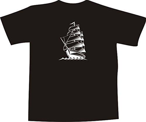 Segelboot zeichnung schwarz  TShirt E376 Schönes TShirt mit farbigem Brustaufdruck Logo ...