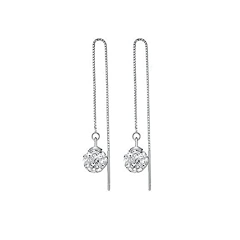 Yoursfs Chain Threader Long Drop Earrings Dangling Ball Pendant for Women 18ct White Gold Plated CZ Fashion Jewellery Gift