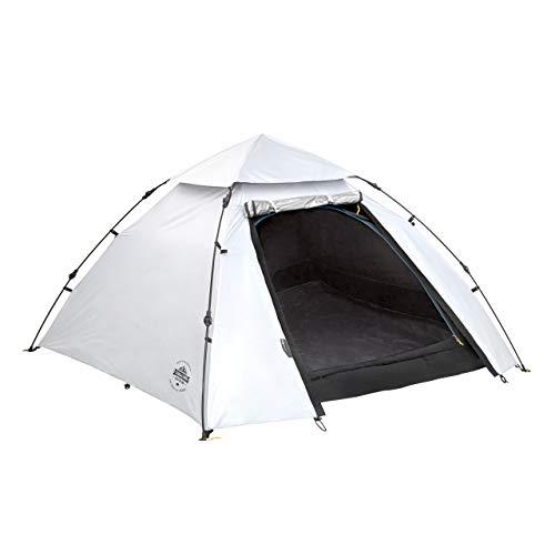 Lumaland Outdoor Pop Up Kuppelzelt Wurfzelt 3 Personen Zelt Sekundenzelt Camping Festival etc. 215 x 195 x 120 cm Tragetasche Cool Reflective (Cool Reflective)