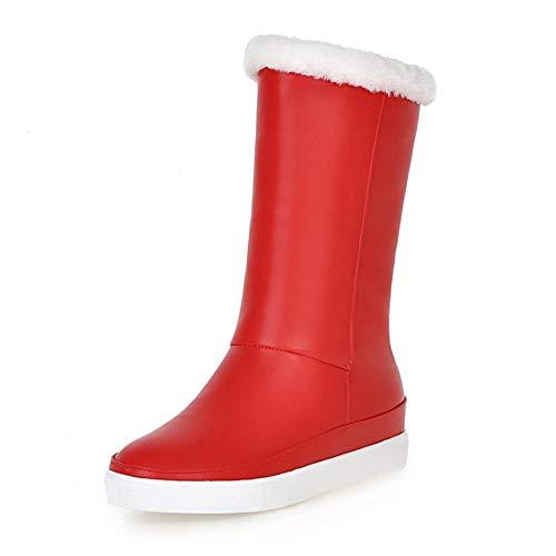 HOESCZS Neue Plus Größe 33-43 Hinzufügen Pelz Winter Schnee Stiefel Warme Schuhe Frau Großhandel Plattform Heißer Mitte Kalb Stiefel Frau Schuhe,rot,36 -