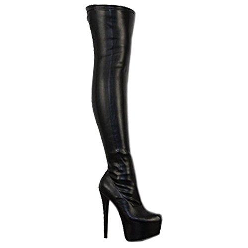 Damen Overknee-Stiefel mit Stretchanteil - High Heels aus Kunstleder - Schwarz PU - EUR 44