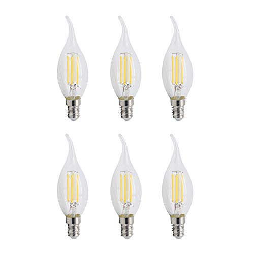 SCFUK Edison Glühbirne, 6 Pcs C35 E14 LED Antik Thread Pull Tail Kristall Birne Dekorative Lichtquelle 220V 4W,A -