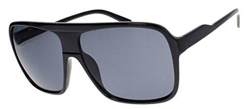 Old School Sonnenbrille Herren Nerd Brille 80er Jahre Flat Top oversized MODELLWAHL F79 (M1: Triple Black)