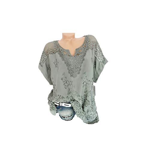 Riou camicia donna elegante manica corta estive bluse elegantei casual solido taglie forti sciolto girocollo hollow sexy moda plus size t-shirt camicetta blusa economiche