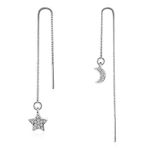 Ohrringe Sterne Mond Kristalle Silber Farbe Anhänger Tropfenohrring Mode Ohr Linie Für FrauenOhrhänger Ohrstecker Creolen Ohrclips -