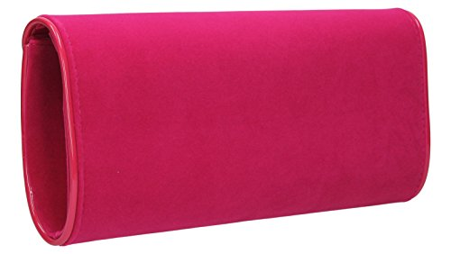 SwankySwansPerry Suede Velvet Envelope - Sacchetto donna Rosa (Rosa fluo)