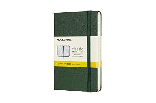 Moleskine 8058647629049 - Taccuino collezione classica Pocket/A6, a quadretti, copertina rigida, colore: Verde mirtillo