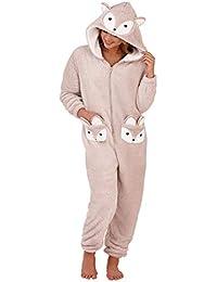 Womens Onesie Loungeable Ladies Pyjamas 3D Ears All In One Sleepsuit