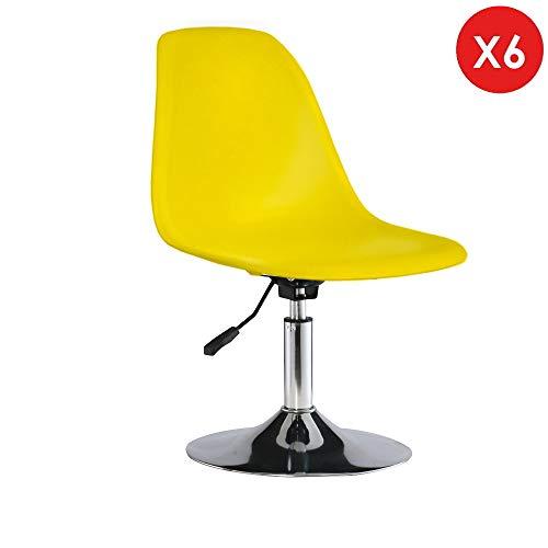 Decopresto 6 x Verstellbarer Stuhl Swivel Beine:Chrom Stitz:Gelb DP-DSIA-YE-6P -