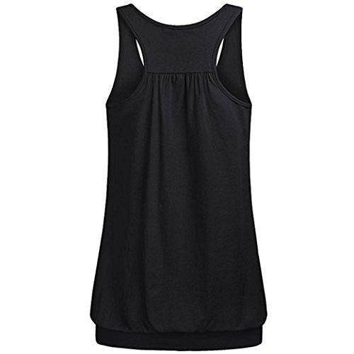 TUDUZ Damen Rundhals Stretch Sport Top Cute Racerback Yoga Workout Sommer Shirts Tank Top (XL,Schwarz)