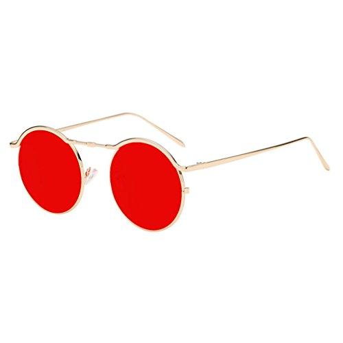 Gafas De Sol Mujer Redondas Baratas 2018 Unisex Marco De Moda Deporte Marca Cortinas De Acetato Marco ProteccióN UV (F Dorado+Rojo, 5.5)