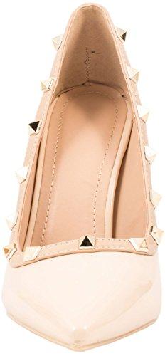 Elara Spitze Damen Pumps | Bequeme Lack Stilettos | Elegante High Heels Beige Paris DVFwoXGtB