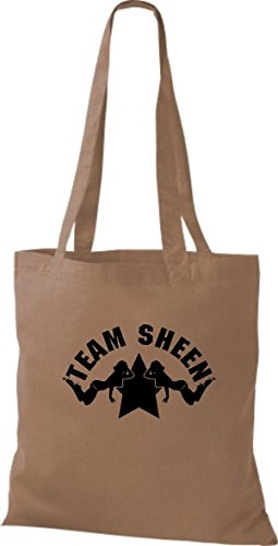 ShirtInStyle Stoffbeutel Two And A Half Man Charly Sheen Team Sheen, diverse Farbe caramel